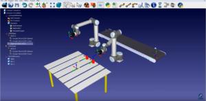 Collaborative robots and a conveyor