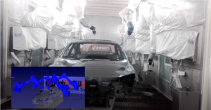 Car painting process programmed in RoboDK by Robco SWAT