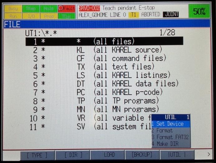 Fanuc Robot program Manual pendant