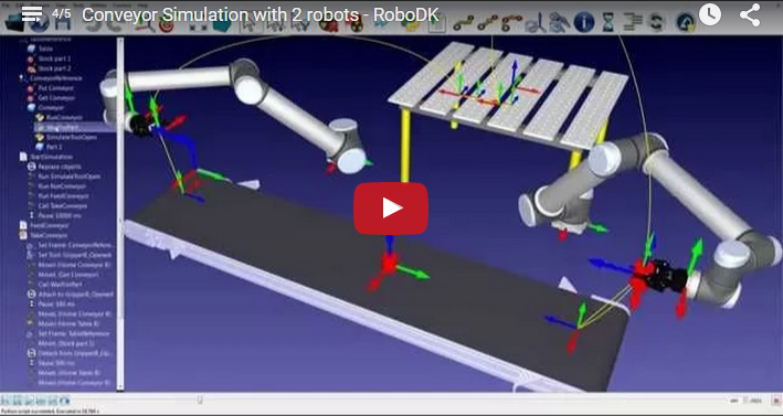 Conveyor simulation with 2 industrial robots